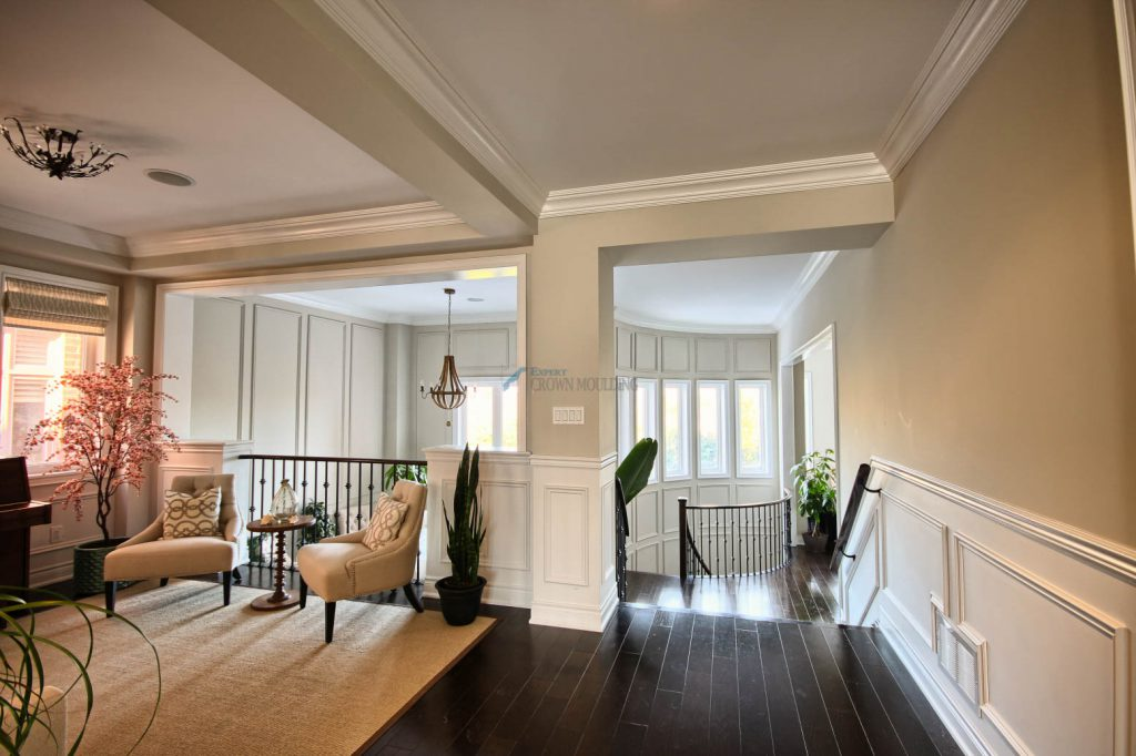 crown moulding design and stairs wainscoting