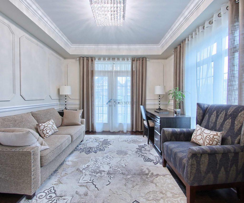 wainscoting walls and crown molding ceiling