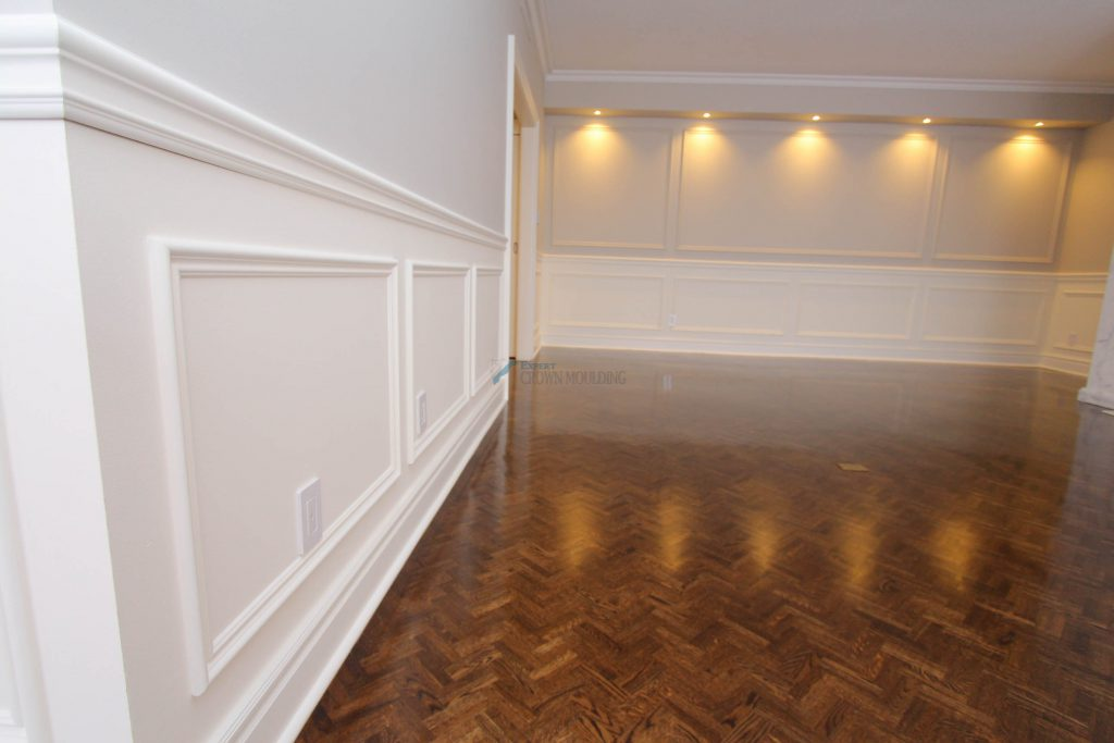 full wall wainscoting with potlights