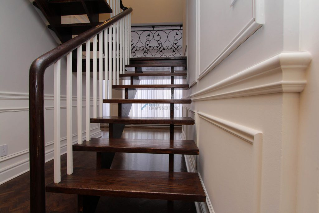 wainscoting and trim at stairway