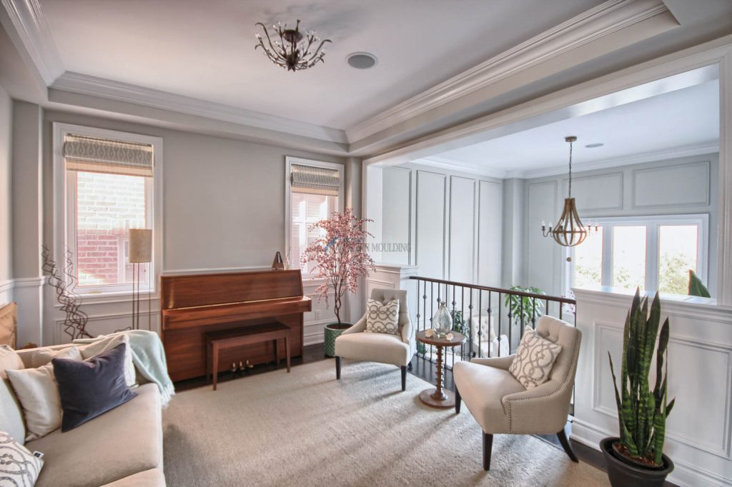 music room with tray ceiling crown moulding
