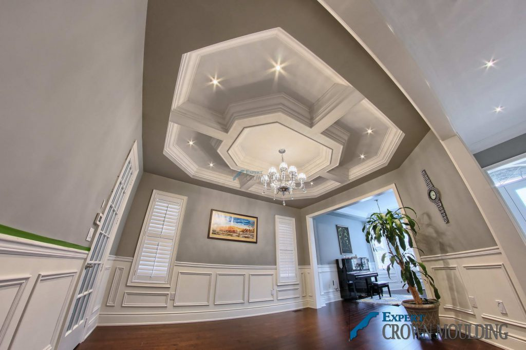 waffle-ceiling in a living room hall