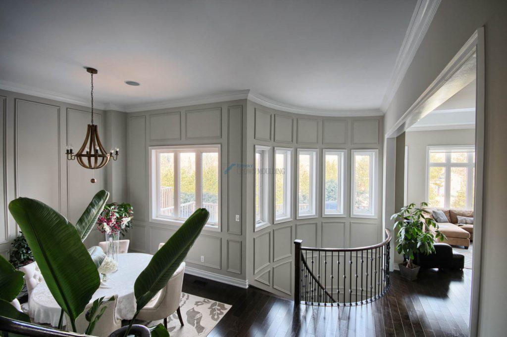 light living room with windows trim