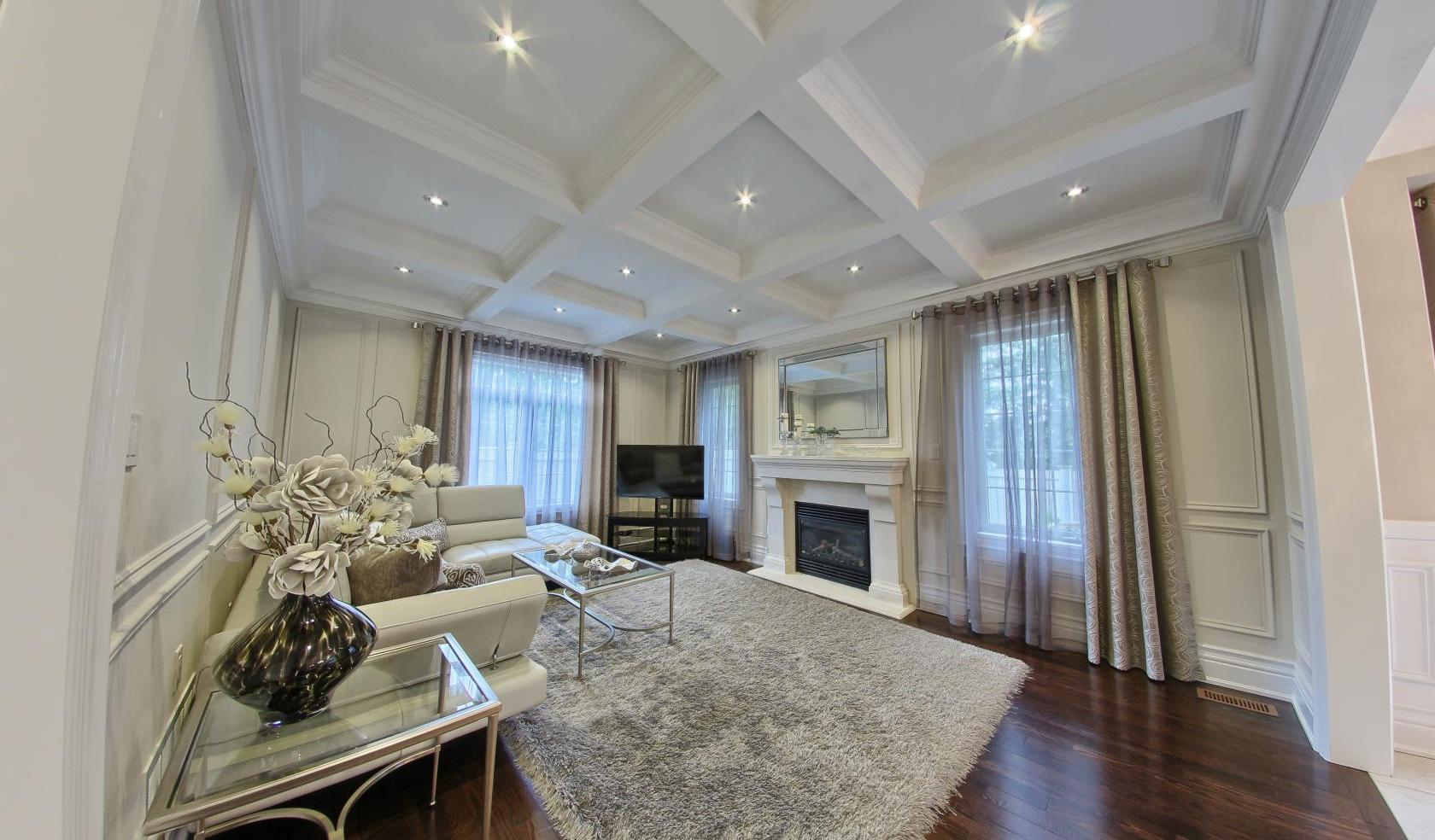 Photo of luxury living room with Waffle Ceiling